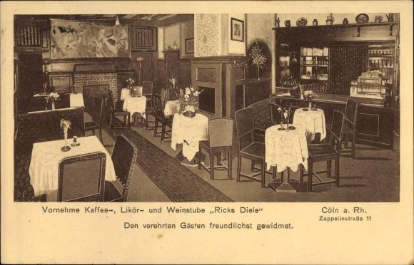 Ak Köln am Rhein, Weinstube Ricks Diele, Zeppelinstraße 11, Innenansicht, Theke