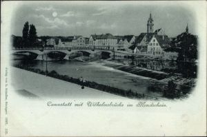 Mondschein Ak Cannstatt Stuttgart in Baden Württemberg, Blick auf Stadt und Wilhelmsbrücke