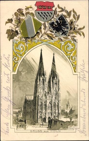 Präge Künstler Wappen Litho Trübe, Köln am Rhein, Kölner Dom