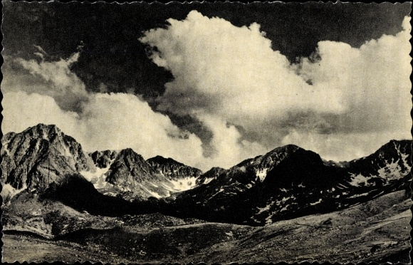 Ak Andorra, Nuvolada als Pessons, Gebirge, Wolken, Landschaft