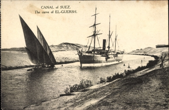 Ak Ägypten, Canal of Suez, the curve of El Guersh, Suezkanal, Segelboot, Dampfschiff