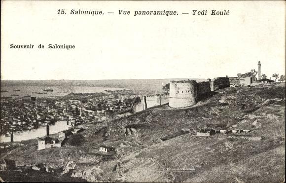 Ak Thessaloniki Griechenland, Vue panoramique, Yedi Koulé, Panoramablick zur Stadt