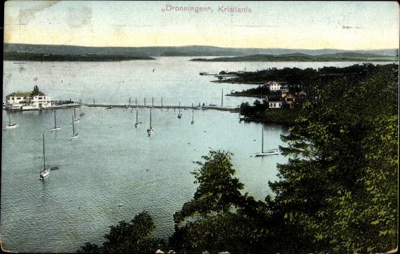 Ak Kristiania Oslo Norwegen, Dronningen, Blick zum Hafenbecken