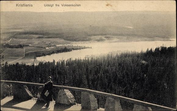 Ak Kristiania Oslo Norwegen, Udsigt fra Volksenkollen, Landschaftsansicht