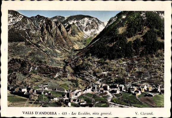 Ak Les Escaldes-Engordany Andorra, Vista General, Panorama des Ortes