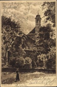 Künstler Ak Jander, Carl, Kleinmachnow in Brandenburg, Rückansicht der Kirche
