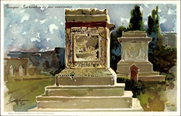 Künstler Litho Pompei Campania, La tomba di un marinaio