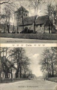 Ak Kade Jerichow Sachsen Anhalt, Kirche und Pfarrhaus, Schloss und Straßenansicht
