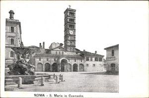 Ak Roma Rom Lazio, S. Maria in Cosmedin, Blick über einen Platz zur Kirche, Brunnen
