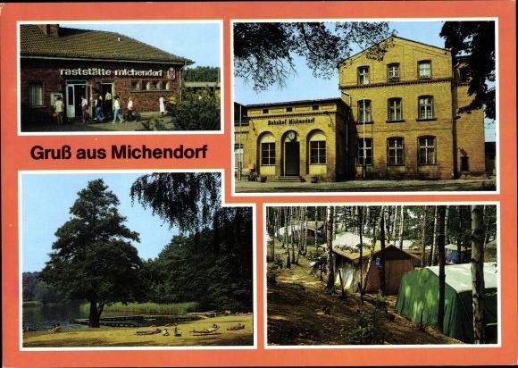 Ak Michendorf Kreis Potsdam in Brandenburg, Bahnhof, Badestelle am Lienewitzsee, Campingplatz