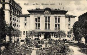 Ak Oran Algerien, La Poste, Arch. Lecamus, Blick auf die Post, Gartenanlage