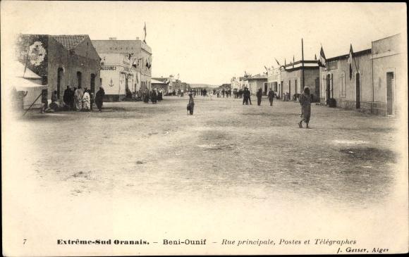 Ak Beni Ounif Algerien, Rue principale, Postes et Telegraphes