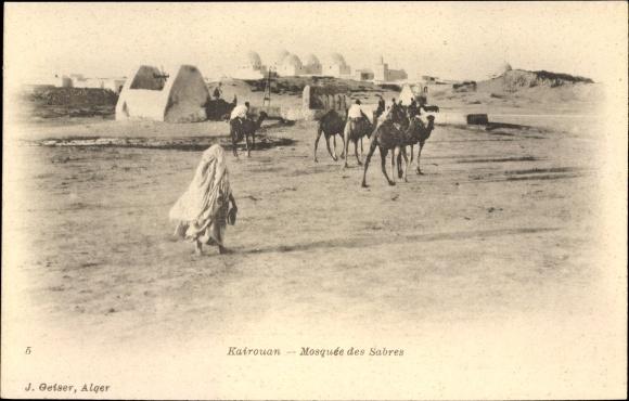 Ak Kairouan Tunesien, Mosquée des Sabres, Kamele, Blick zur Moschee, Geiser 5
