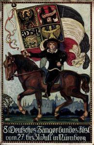 Künstler Ak Gradl, H., Nürnberg Franken, 8. Deutsches Sänger Bundesfest, 27. - 31. Juli 1912, Flagge