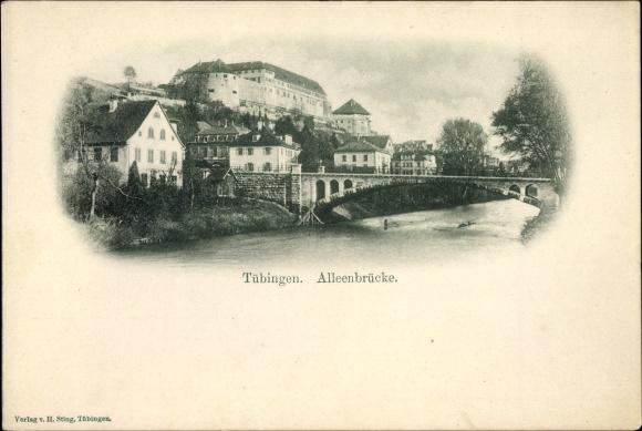 Ak Tübingen am Neckar Baden Württemberg, Partie an der Alleenbrücke