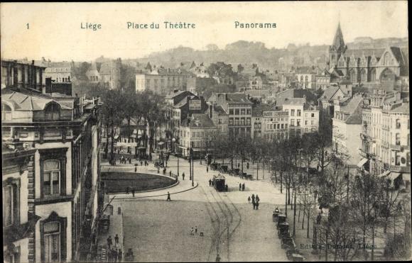 Ak Liège Lüttich Wallonien, Place du Theatre, Panorama, Straßenpartie