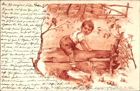 Litho Kleiner Junge steigt über einen Holzzaun, Stroefer Serie III No 5203