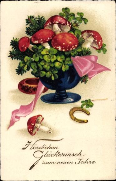 Ak Glückwunsch Neujahr, Kleeblätter, Fliegenpilze, Hufeisen