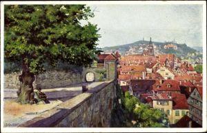 Künstler Ak Durst, J., Tübingen am Neckar Baden Württemberg, Blick von der Schlosslinde