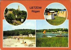 Ak Lietzow Insel Rügen in der Ostsee, Teilansicht, Zeltplatz, Strand am Bodden, Anlegestelle