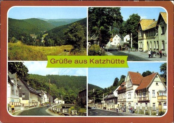Ak Katzhütte im Schwarzatal Thüringen, Blick ins Schwarzatal, Eisfelder Straße, Oelzer Straße