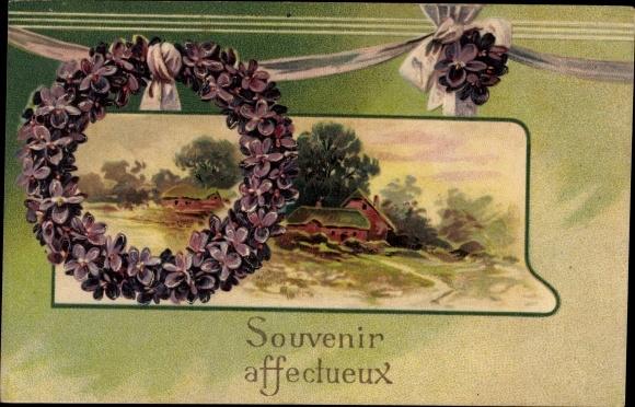 Präge Ak Souvenir affectueux, Kitsch, Blumen, Frühlingsidyll