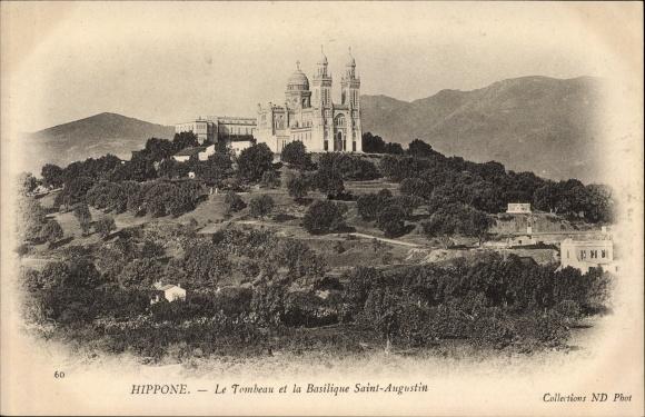 Ak Hippone Algerien, Le Tombeau et la Basilique Saint Augustin