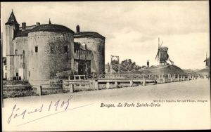 Ak Bruges Brügge Flandern Westflandern, Blick auf la Porte Sainte Croix, Windmühle