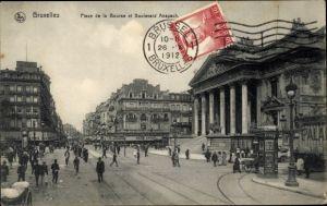 Ak Bruxelles Brüssel, Blick auf den Place de la Bourse, Boulevard Anspach