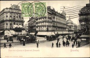 Ak Bruxelles Brüssel, Blick auf den Place de la Bourse, Boulevard Anspach, Passanten