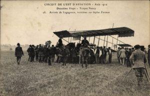 Ak Circuit de l'Est d'Aviation Août 1910, Deuxième Etape, Troyes-Nancy, Arrivée de Legagneux