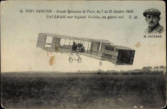 Ak Port Aviation, Grande Quinzaine de Paris, 7-21 Octobre 1909, Paulhan, Biplan Voisin