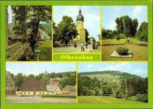 Ak Olbernhau im Erzgebirge Sachsen, Althammer, Denkmal Saigerhütte Grünthal, Parkpartie