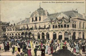 Ak Nice Nizza Alpes Maritimes, Casino de Nice pendant les Fetes du Carnaval