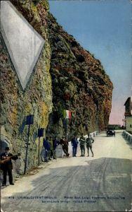 Ak Grimaldi di Ventimiglia Liguria, Ponte San Luigi, Frontiera Italiana, Grenze