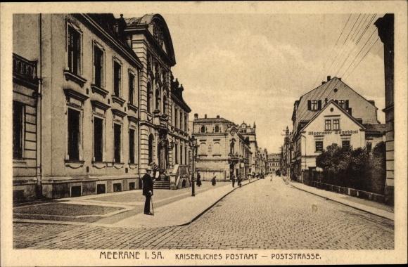 Ak Meerane in Sachsen, Partie an der Poststraße mit Kaiserl. Postamt, Meeraner Tageblatt