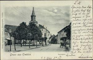 Mondschein Ak Trebbin im Kreis Teltow Fläming, Partie am Marktplatz