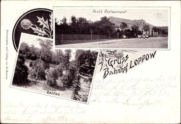 Ak Łupowo Loppow Bogdaniec Dühringshof Ostbrandenburg, Paul's Restaurant, Garten
