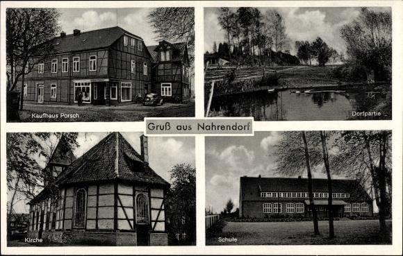 Ak Nahrendorf Lüneburger Heide, Kaufhaus Porsch, Dorfpartie, Kirche, Schule