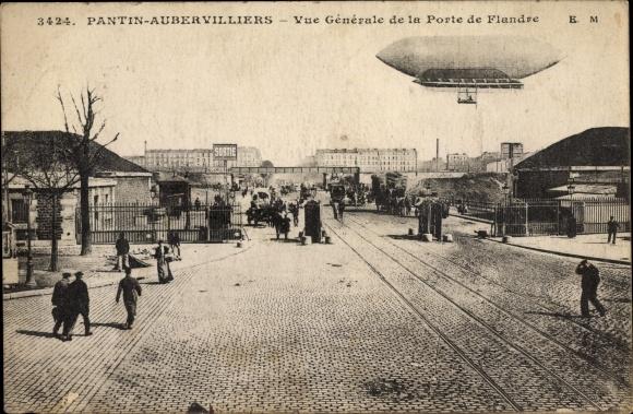 Ak Pantin Aubervilliers Seine Saint Denis, Vue générale de la Porte de Flandre, Dirigéable