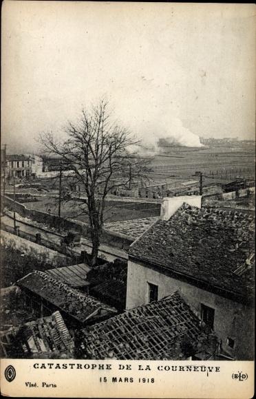 Ak Courneuve Seine Saint Denis, Catastrophe le 15 Marx 1918, Explosion, Usine de grenades