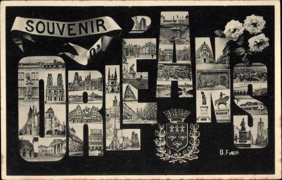 Buchstaben Wappen Ak Orléans Loiret, Reiterstandbild, Denkmal, Kathedrale, Stadtansichten