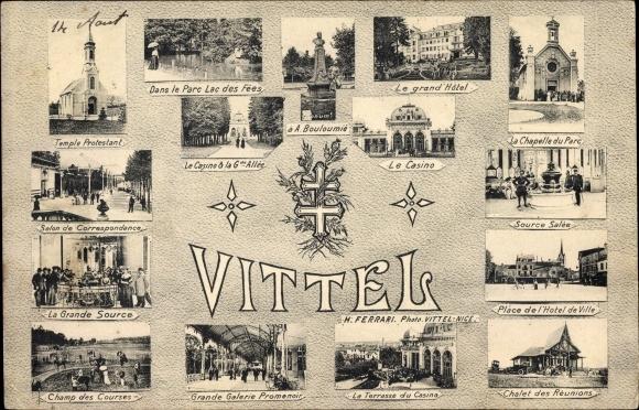 Ak Vittel Lothringen Vosges, La Chapelle du Parc, Place de l'Hotel de Ville, Chalet des Reunions