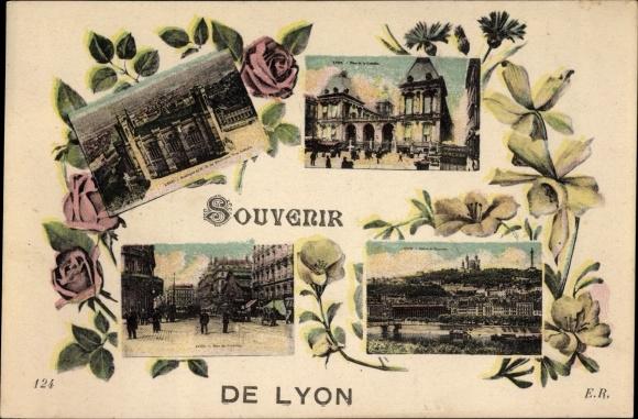 Ak Lyon Rhône, Place de la Comedie, Place des Cordeliers, Basilique de Notre Dame de Fourviere