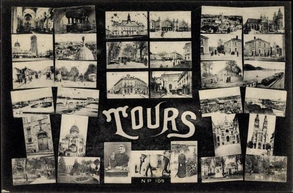 Ak Tours Indre et Loire, Stadtansichten, Kirche, Elefant, Kirche, Bahnhof