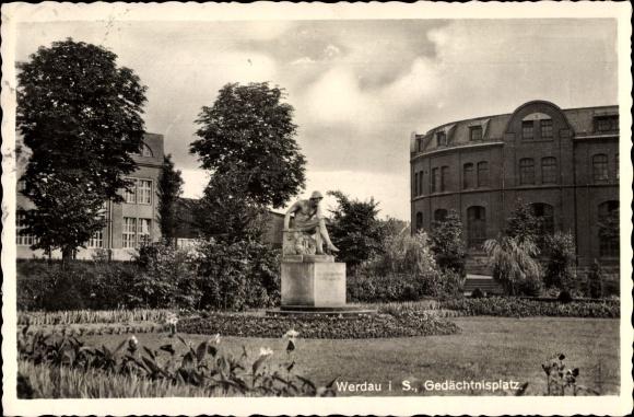 Ak Werdau an der Pleiße in Sachsen, Gedächtnisplatz, Denkmal