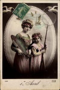Ak 1. April, 1er Avril, Frau und Mädchen mit Fisch und Kescher