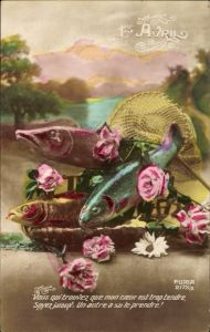 Ak 1. April, 1er Avril, Drei Fische und Blumen, Rosenblüten, Kescher, Poisson