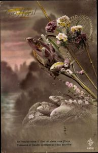 Ak 1. April, 1er Avril, Fische und Blumen, Kescher, En voulez vous, Poisson