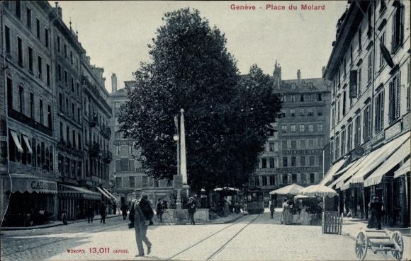 Ak Genève Genf Stadt, Place du Molard, Straßenpartie, Cafe du Commerce